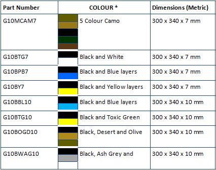 multicolor g10 table