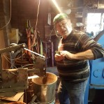 old man making his first knife with the beginner knife making kit from gameco artisan supplies