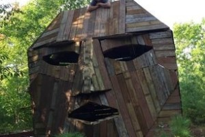 giant wooden head