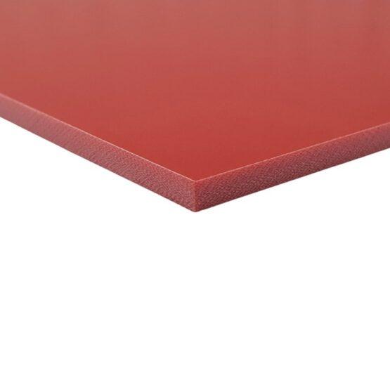 Red sheet of G10 measuring 3.5 x 300 x 340 mm