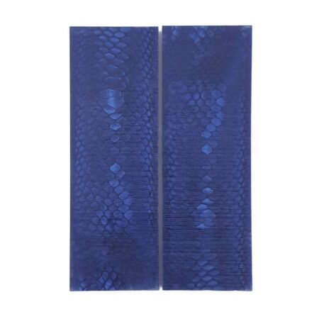 Pair of Juma handle scales with a blue snake pattern and width of 43 mm