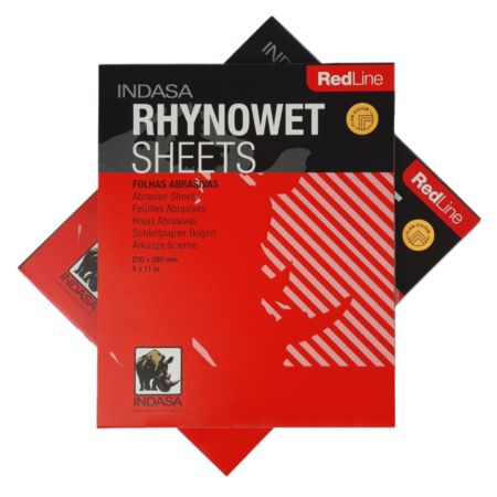 2x 10 sheet packs of Rynowet Red Line Wet and Dry Sandpaper stacked together