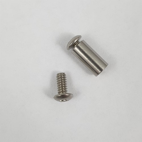 "Stainless Pivot Barrel 3/16"" x 1/2"" with 2x 4-40 Screws. Displaying Screw"