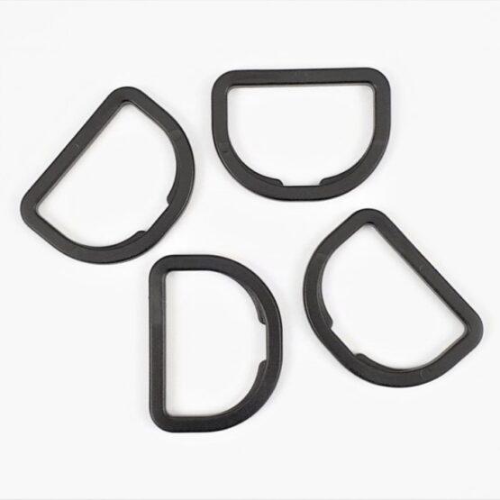 """D Ring Plastic 38mm (1-1/2"""") Black 4 Pack"""