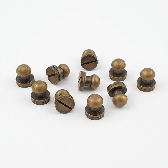 "Button Stud Screwback 9.5mm (3/8"") Antique Brass Plate 10 Pack"