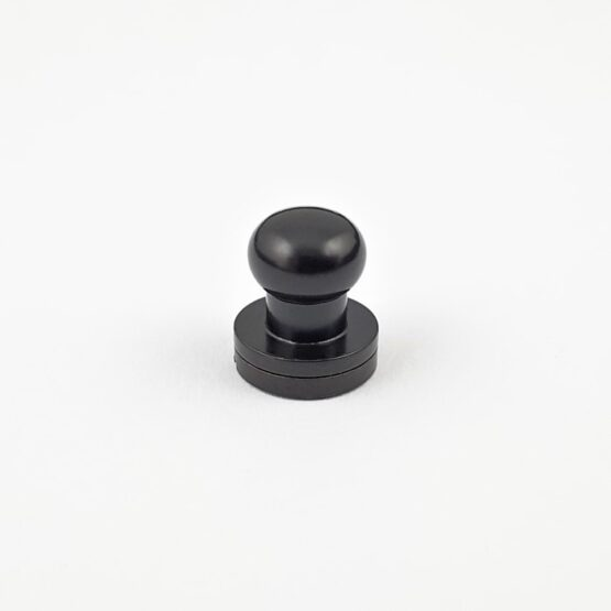 "Button Stud Screwback 9.5mm (3/8"") Black Plate."