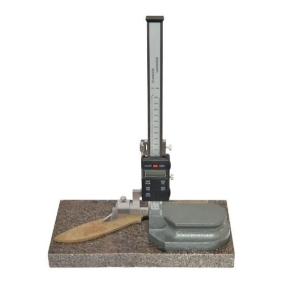 Granite surface plate 150 x 300 mm with a knife blank and digital height gauge sitting on it.